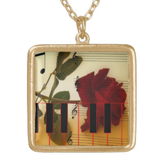 長い茎は、ピアノ鍵および音符上がりました ゴールドプレートネックレス