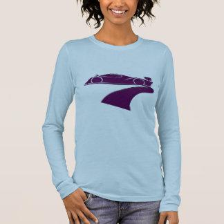 長い袖を競争させている女性 Tシャツ