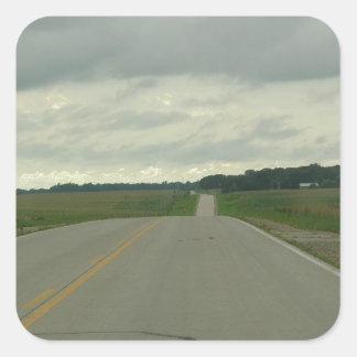 -長い道のり-芝生を運転する国 スクエアシール
