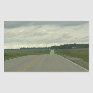 -長い道のり-芝生を運転する国 長方形シール