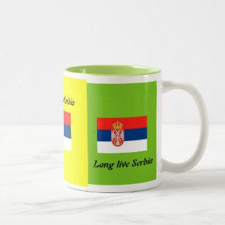 長くセルビアは住んでいます ツートーンマグカップ