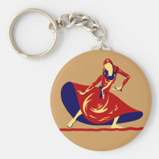 長く赤い服のキーホルダーのギフトを持つ女性のダンサー キーホルダー
