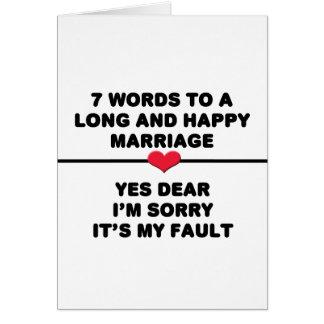 長く、幸せな結婚のための7ワード カード