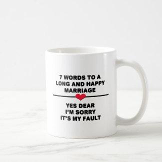 長く、幸せな結婚のための7ワード コーヒーマグカップ