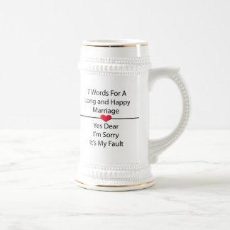 長く、幸せな結婚のための7ワード ビールジョッキ