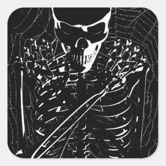 長く-死んだ骨組ステッカー スクエアシール