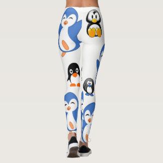 長の暗藍色のレギングのペンギン レギンス