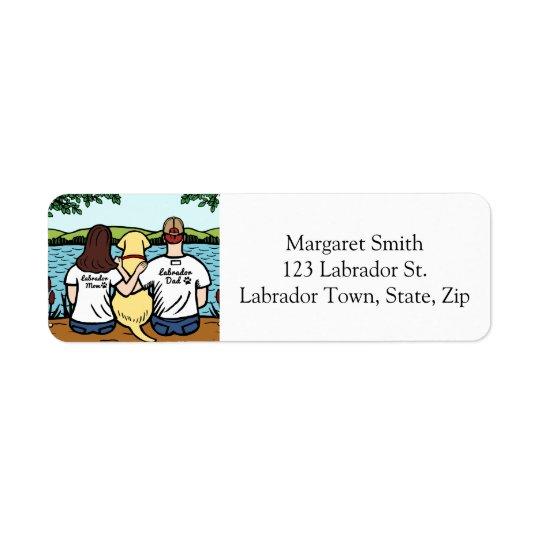 長の黄色いラブラドールおよびお母さんおよびパパ 返信用宛名ラベル