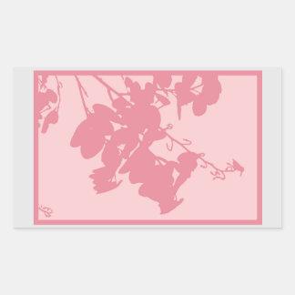 長方形のステッカーのピンクのハチドリ 長方形シール