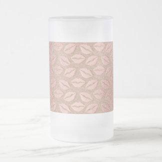 長方形のピンクのバラの金ゴールドの粉の金属キス フロストグラスビールジョッキ