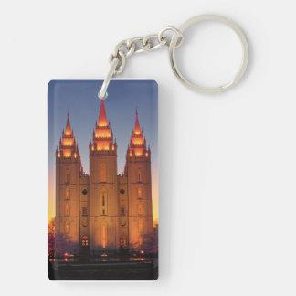 長方形の(両面の) Keychain SLCの寺院の薄暗がり キーホルダー