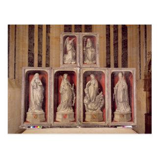 閉鎖した祭壇の背後の飾りのパネルの眺め ポストカード