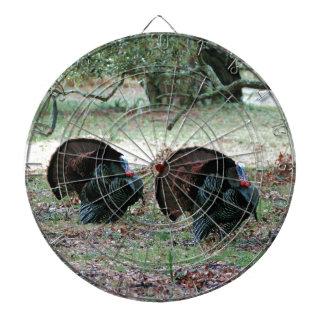 開いた分野の感謝祭日の野生の七面鳥 ダーツボード