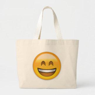 開いた口が付いている微笑の顔及び微笑の目Emoji ラージトートバッグ