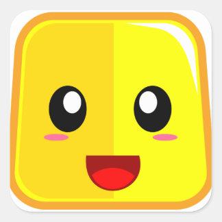 開いた口Emojiconが付いている微笑の顔 スクエアシール