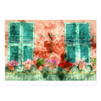 開いた木シャッターが付いているイタリアンな窓 ポストカード