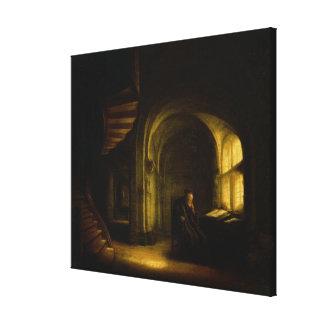 開いた本を持つ哲学者、1625-7年(窓ガラスの油 キャンバスプリント