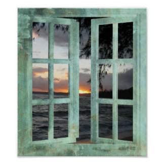 開いているウィンドウのカウアイ島の日没 ポスター