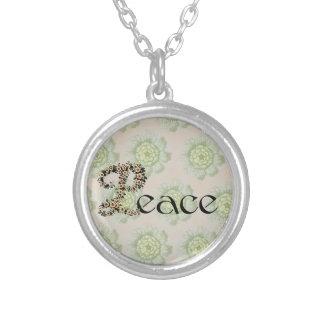 開花した平和 シルバープレートネックレス