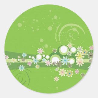開花した緑の風変わり ラウンドシール