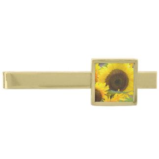 開花のヒマワリ 金色 ネクタイピン