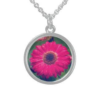 開花のピンクのガーベラのデイジー スターリングシルバーネックレス