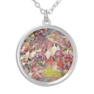 開花のペンダントのネックレスの明るい赤紫色 シルバープレートネックレス