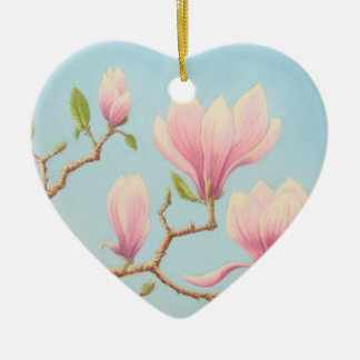 開花のマグノリアの花、パステル調の親友 セラミックオーナメント