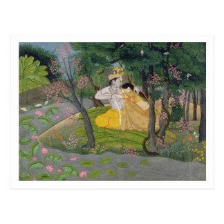 開花の果樹園のRadhaおよびKrishnaの容認 ポストカード