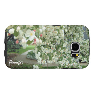 開花の白いですかピンクの花パターンのCrabappleの木 Samsung Galaxy S6 ケース