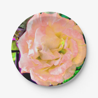 開花の素晴らしい野生モモのばら色の花 ペーパープレート