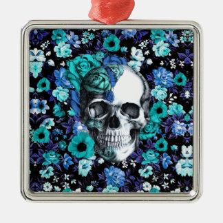 開花の青い花のスカル メタルオーナメント