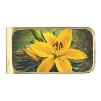 開花の黄色いアジアユリ ゴールド マネークリップ