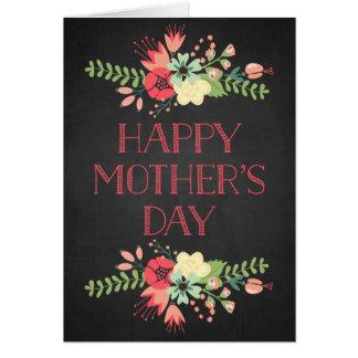 開花の黒板の母の日カードの花 グリーティングカード