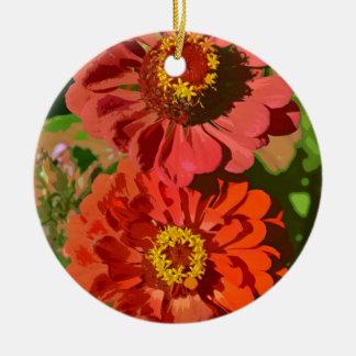 開花の2つのオレンジ《植物》百日草の花 陶器製丸型オーナメント