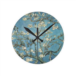 開花1890年のフィンセント・ファン・ゴッホ|のアーモンドの枝 ラウンド壁時計