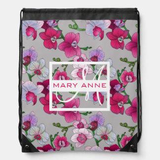 開花|のピンクの蘭はあなたの名前を加えます ナップサック
