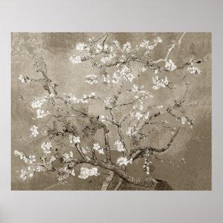 開花-セピア色のゴッホのアーモンドの枝 ポスター