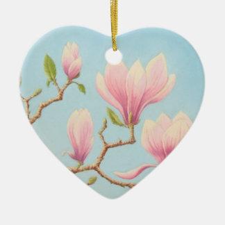 開花、パステル調のハッピーバースデーのマグノリアの花 セラミックオーナメント