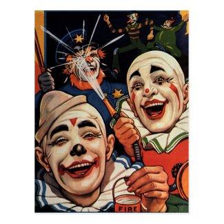 間抜けでおもしろいなユーモアのある、ヴィンテージのサーカスのピエロ ポストカード