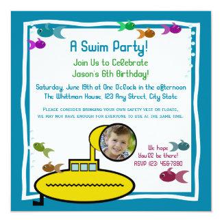 間抜けで補助的なアクアリウムの水泳の誕生日 カード
