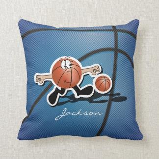 間抜けで青い漫画のバスケットボールの人 クッション