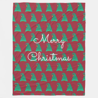 間抜けなクリスマスツリーパターンとの赤 フリースブランケット