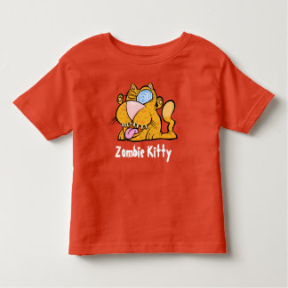 間抜けなモンスターのゾンビの子猫の幼児のオレンジのTシャツ トドラーTシャツ