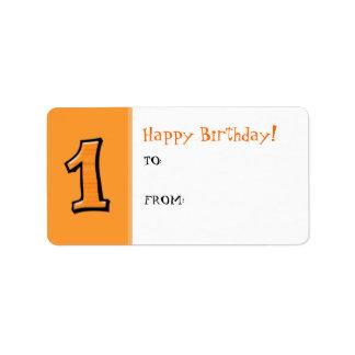 間抜けな数1つのオレンジ誕生日プレゼントのラベル ラベル