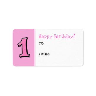 間抜けな数1つのピンクの誕生日プレゼントのラベル ラベル