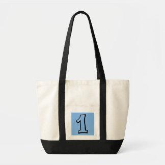 間抜けな数1つの青かばん トートバッグ