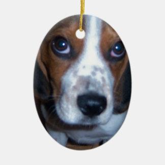 間抜けな犬のランディのビーグル犬の子犬 セラミックオーナメント