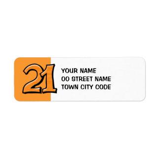 間抜けな第21オレンジの差出人住所ラベル ラベル
