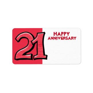 間抜けな第21赤記念日のギフトのステッカー ラベル
